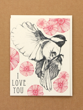 Supermaggie I Love You Chickadee And Poppies Card