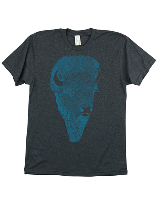 Supermaggie Buffalo Head Heather Charcoal 5050 Tee