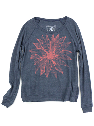 Supermaggie Big Flower Heather Navy Amy Eco Long Sleeve