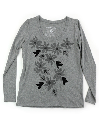 Supermaggie Passion Flowers Heather Gray Sasha Long Sleeve